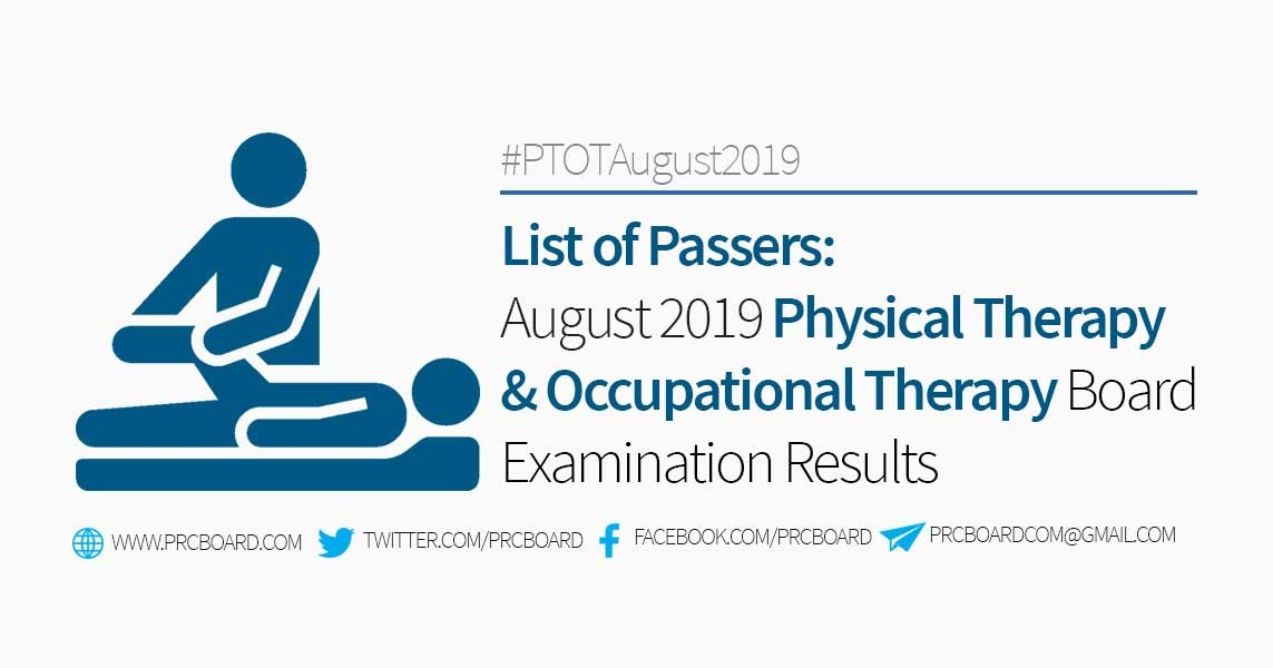 RESULT, PASSERS: August 2019 Physical Therapist and Occupational