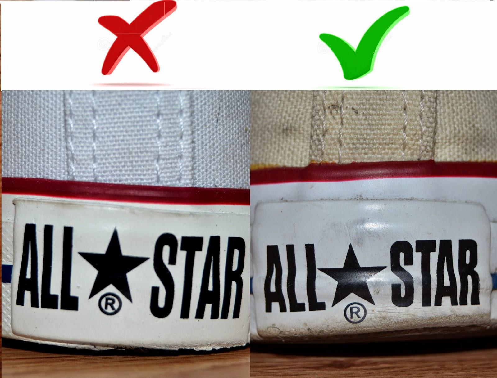71118586d88fa Napis z tyłu buta w oryginalnych Conversach jest czarny, literki nie są  rozciągnięte i przede wszystkim widać wypukłość. W podrobionych Conversach  tył jest ...