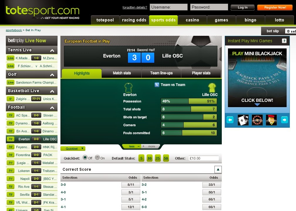 Totesport Bet in Play Screen