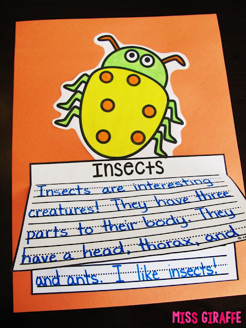 Insects writing craft that is NO PREP perfect for learning about bugs in science in the springtime! Click for a ton of fun Spring activities and writing prompts!
