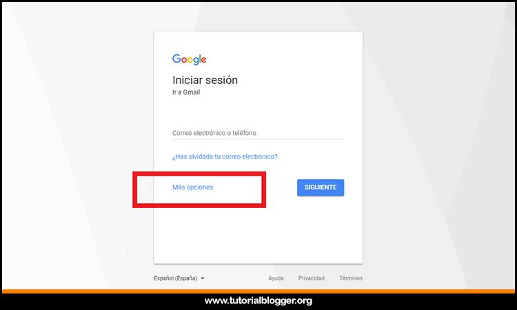 opcion crear cuenta gmail