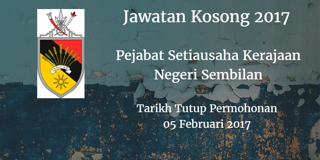 Jawatan Kosong Pejabat Setiausaha Kerajaan Negeri Sembilan 05 Februari 2017