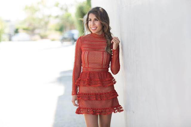 how to wear lace dress, red lace dress, self portrait dress, guest of wedding
