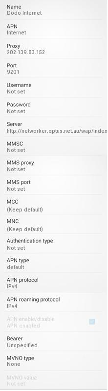 Dodo Manual APN Settings for Android