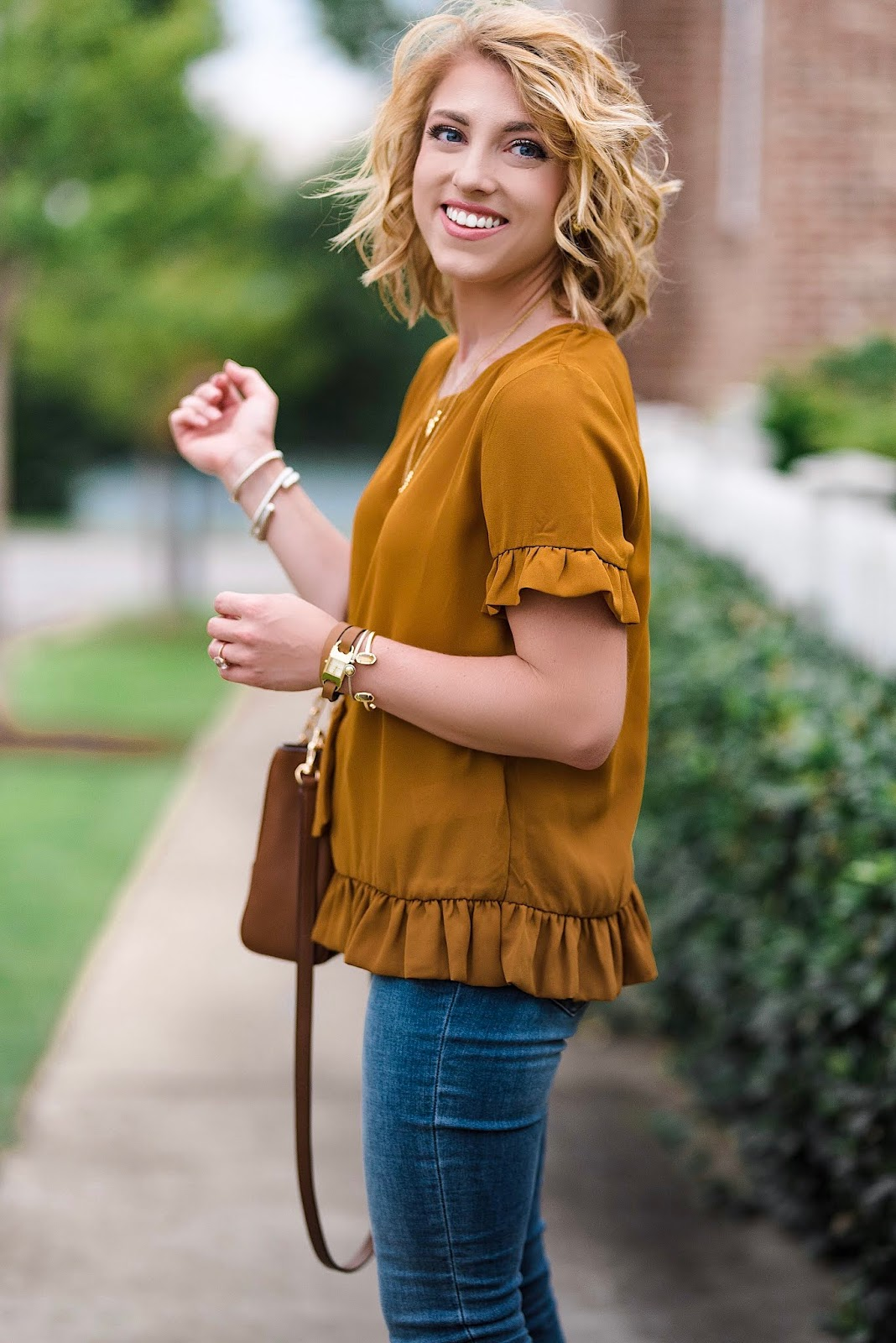 $40 Ruffle Detail Top + Nordstrom Anniversary Sale Jeans & Shoes - Something Delightful Blog