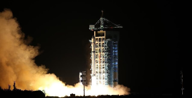 A Long March 2D rocket blasts off from the Jiuquan Satellite Launch Center on Aug. 15, carrying the Quantum Science Satellite. Photo Credit: Xinhua