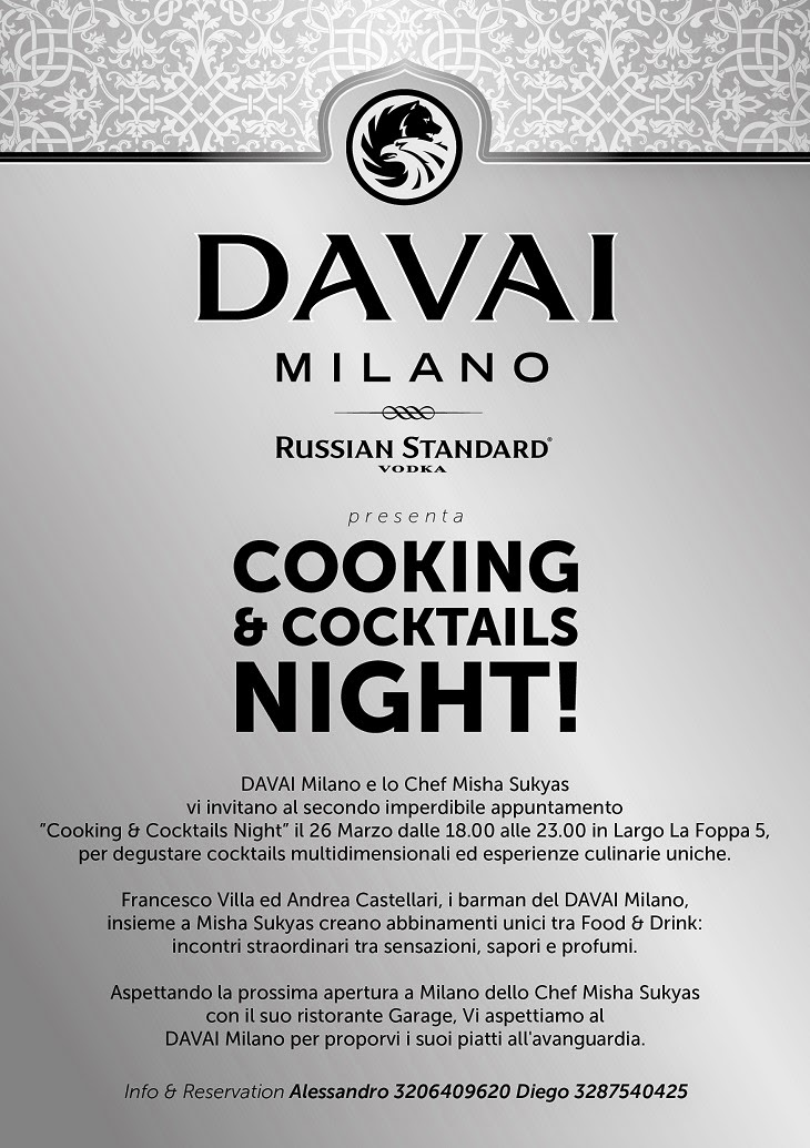 Cooking & Cocktails Night! 26 Marzo Davai Milano