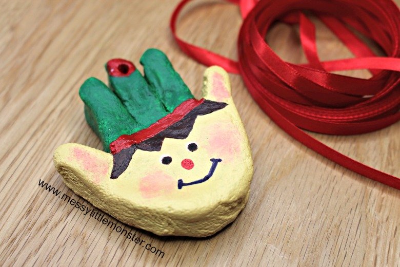 Christmas elf craft for kids. Salt dough handprint ornaments