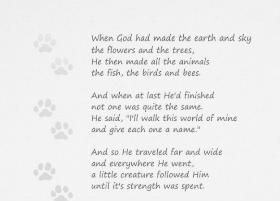 Paw Prints Poem Dog Sympathy Card