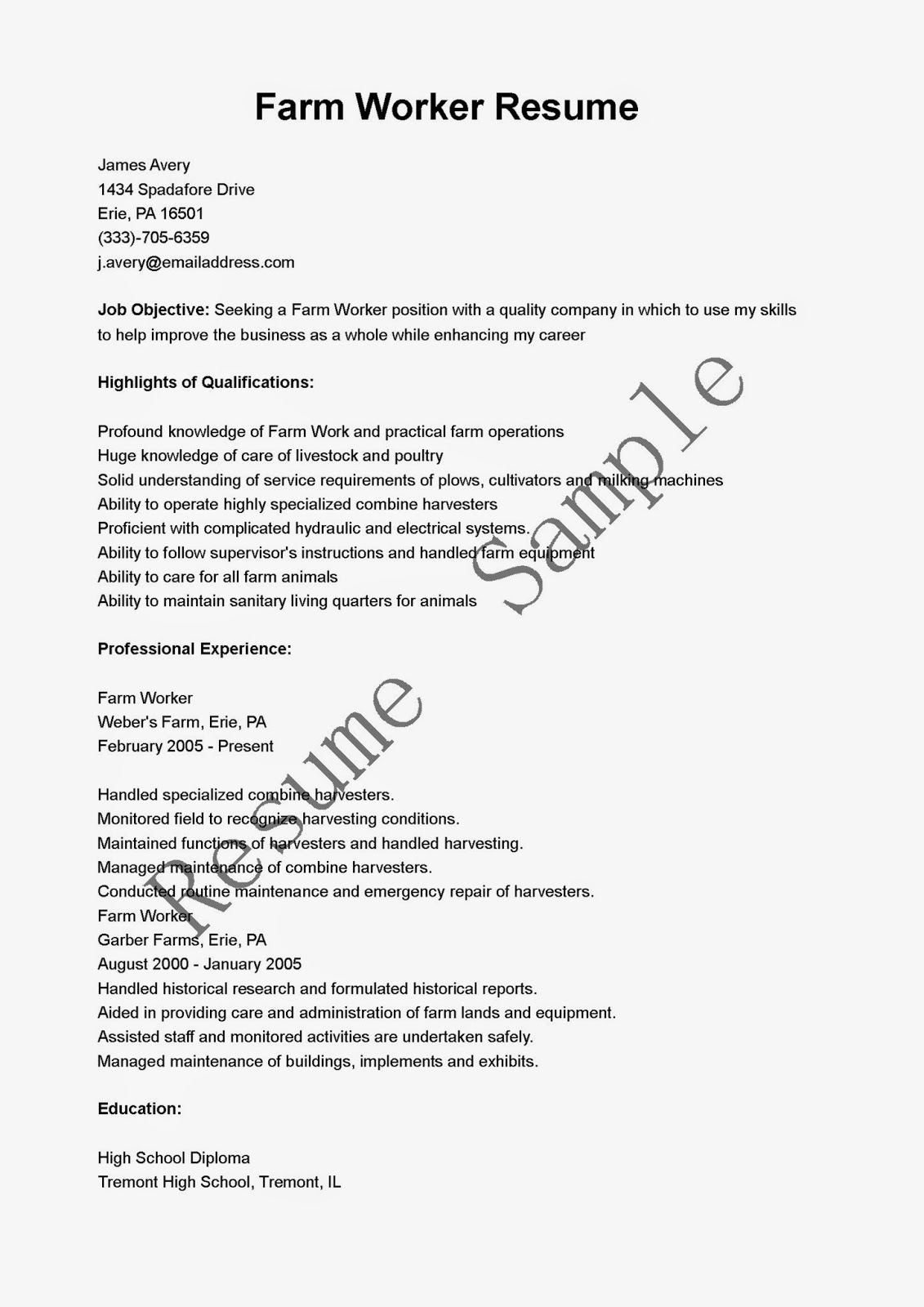 Resume Samples Farm Worker Resume Sample