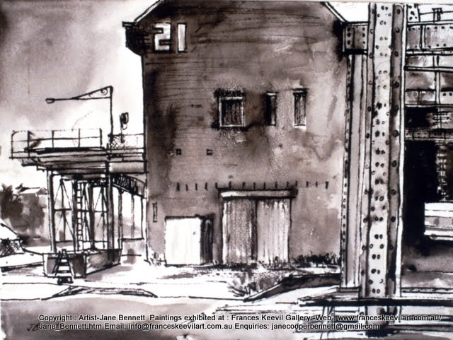 plein air ink and wash painting of Jones Bay Wharf in Pyrmont  by industrial heritage artist Jane Bennett