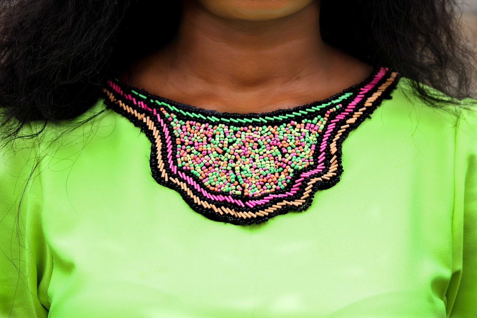 NEON HI-LO SHIFT DRESS - Neck Bead Detailing on Neon Shift Dress by Porshher