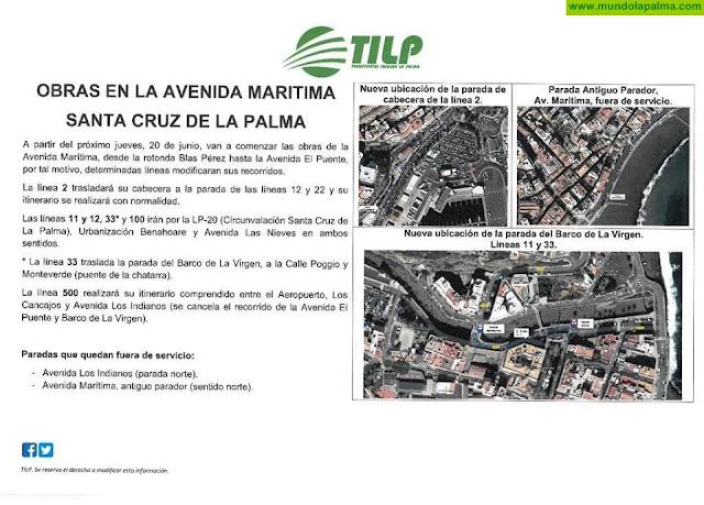 Cambios en las líneas de Guagua por las Obras en La Avenida Marítima de Santa Cruz De La Palma