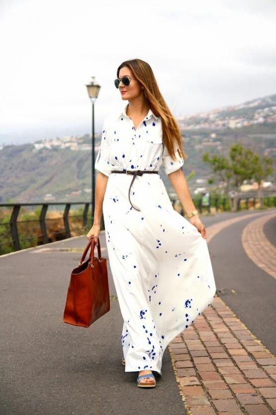 Beautiful White Soothing Maxi With Leather Belt