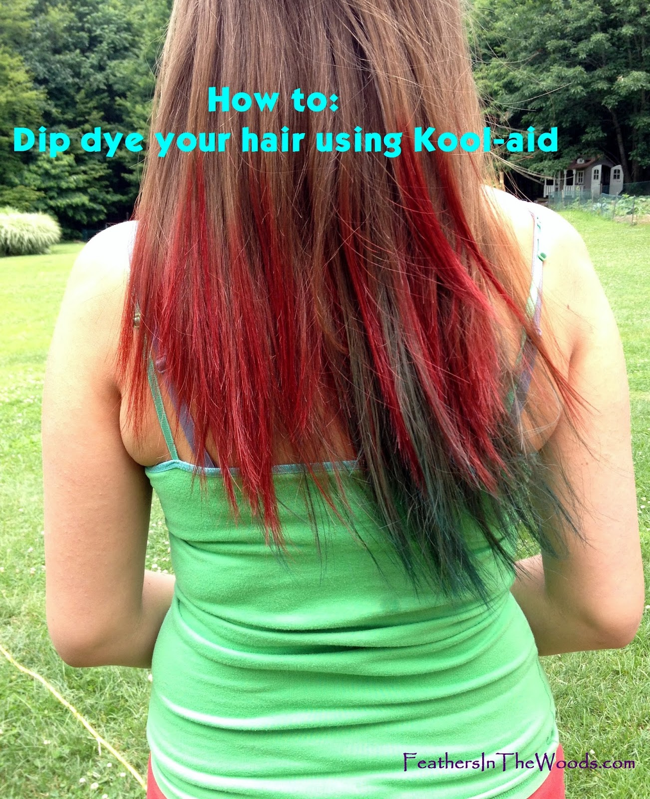 Feathers in the woods: Dip dyed Kool-aid hair