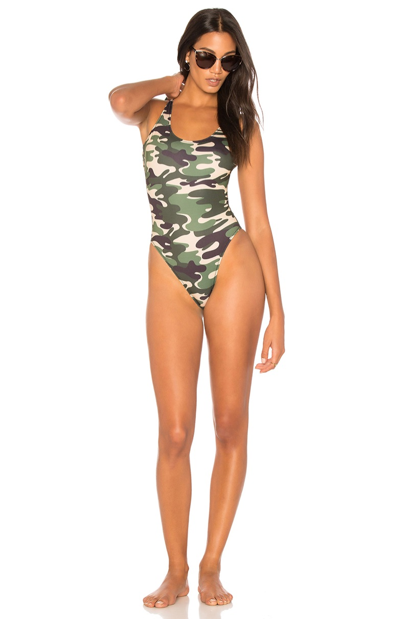 Kendall + Kylie x REVOLVE Low Back One Piece Swimsuit in Camouflage $135