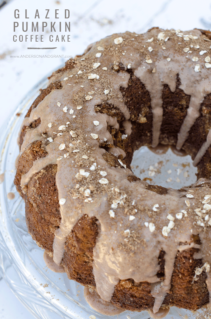 This recipe for Glazed Pumpkin Coffee Cake is easy to prepare and makes a delicious breakfast, dessert, or sweet snack for fall.  |  www.andersonandgrant.com