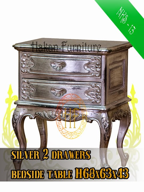 Silver 2 drawers bedside table H68x63x43