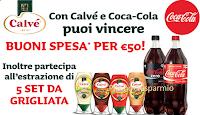 Logo Con Calvé & Coca-Cola vinci 492 buoni spesa e Set da grigliata