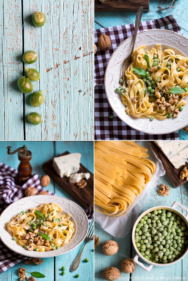 makaron z serem gorgonzola, zielonym groszkiem i orzechami włoskimi