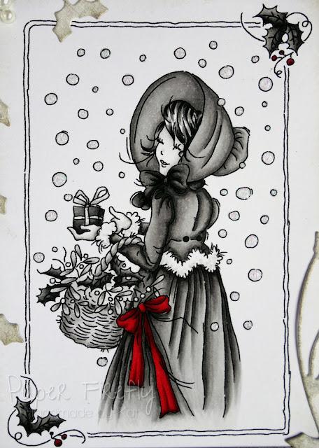 Monochrome vintage style card using LOTV Regency Christmas girl