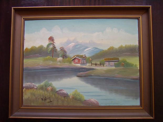 Private Art Collection Norwegian Landscape. Oil Painting