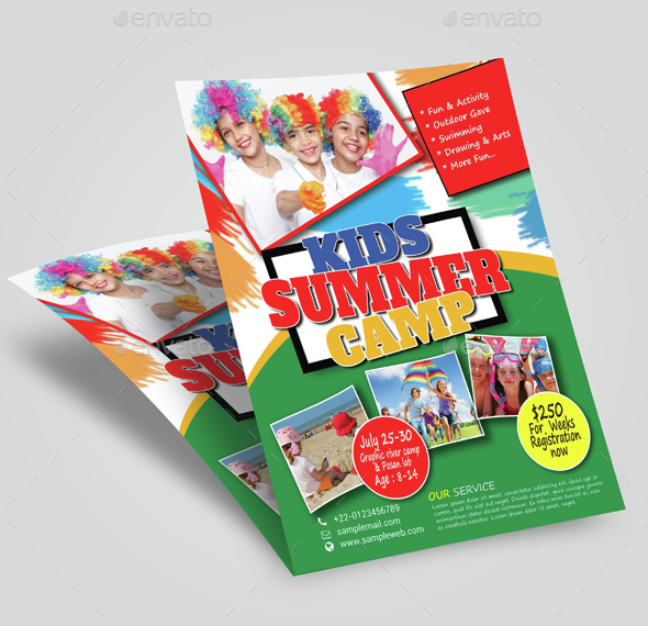 Summer Camp, Summer Fest, kids summer camp, flyer, template, print