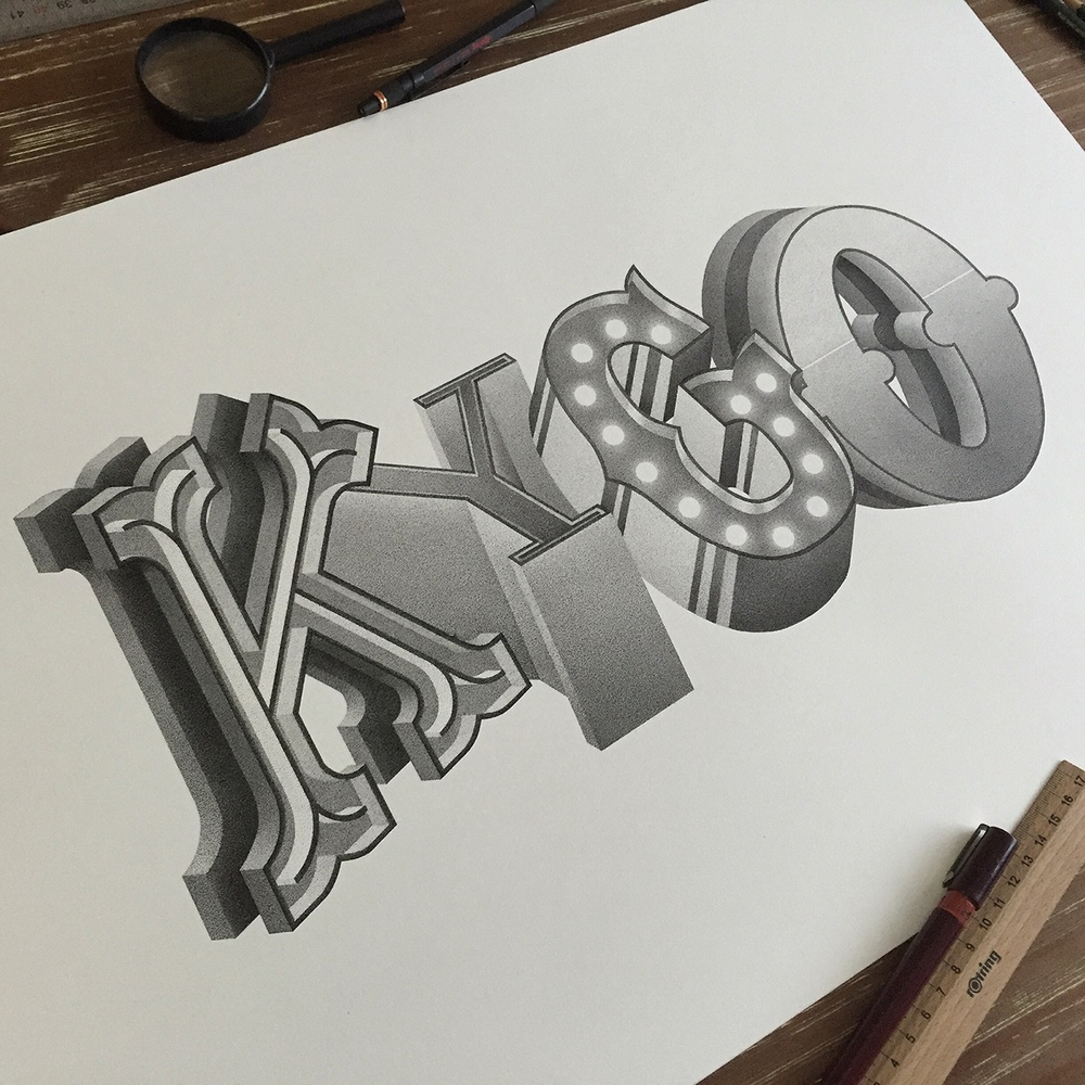 03-KYGO-Xavier-Casalta-Typography-Illustrations-using-Stippling-www-designstack-co