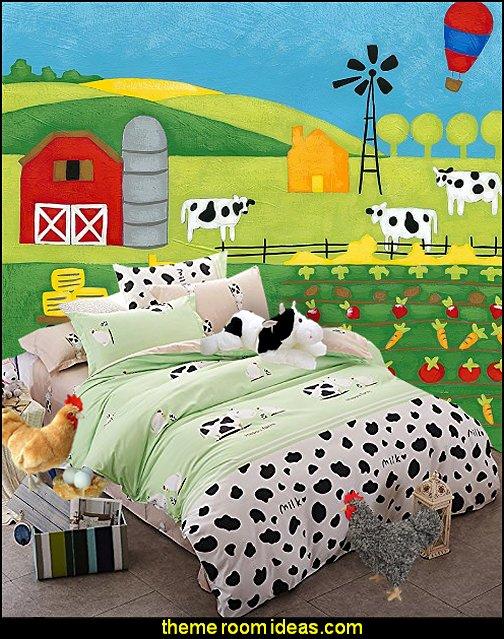 cow print bedding Storybook Farm mural  Farm theme bedroom decorating ideas - horse theme bedroom decorating ideas - girls horse theme bedrooms - farm animals decor - Country themed bedroom - John Deere decor - John Deere bed - John Deere wall decals - Barnyard Bedroom Theme - Farm themed wall decals - farm animals kids wall decor - tractor beds