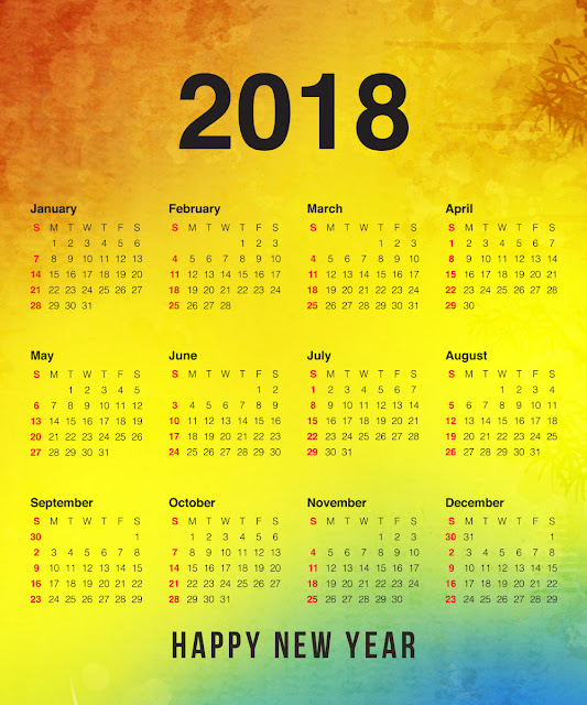 Full Free Download Happy New Year 2018 Calendar