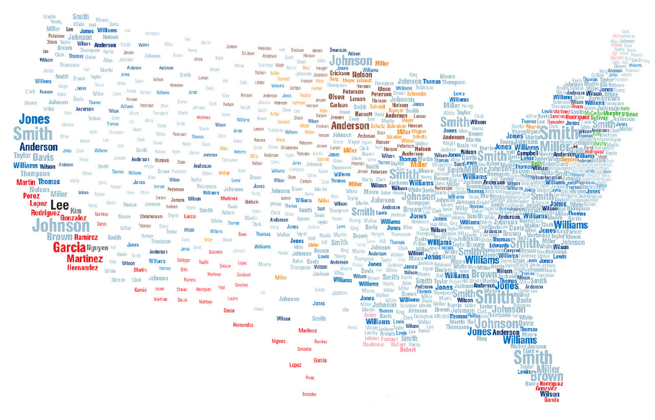 Map of common US surnames