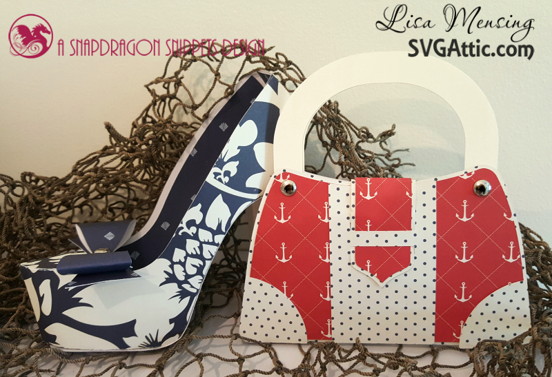 This is a picture of a paper High Heel and Purse Gift Card Set by SVG Attic