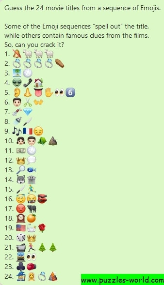 Guess the 24 movie titles from a sequence of Emojis
