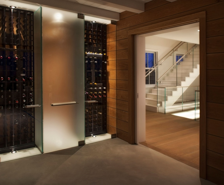 Wine cellar in Contemporary style home on the beach