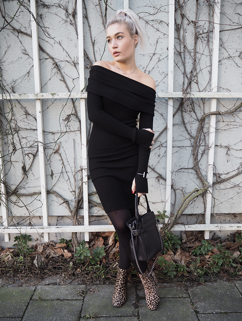 Off Shoulder Kleid Strick Winter Outfit Mode Blogger