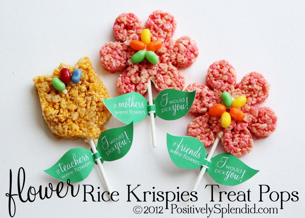 rice krispies treat flower pops free printables