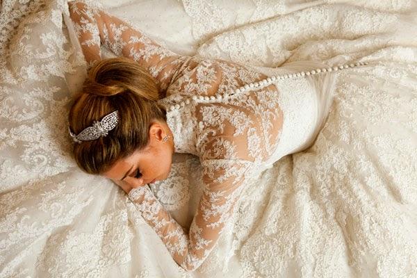 Vestido de noiva de renda inverno