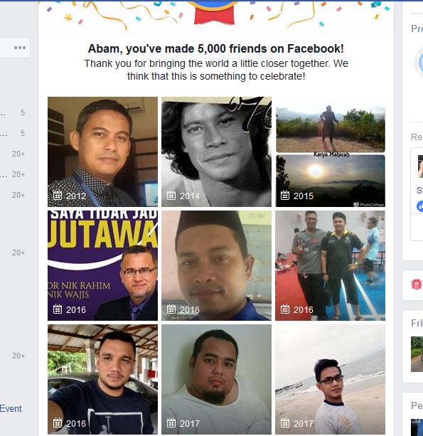 Kawan-Kawan di Facebook Sudah Mencecah 5K