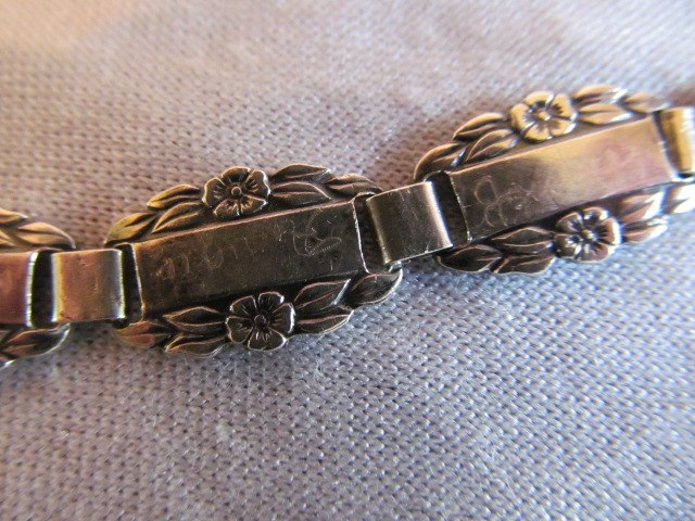 Sterling Silver WWII Forget-Me-Not  Bracelet charm  Link blank