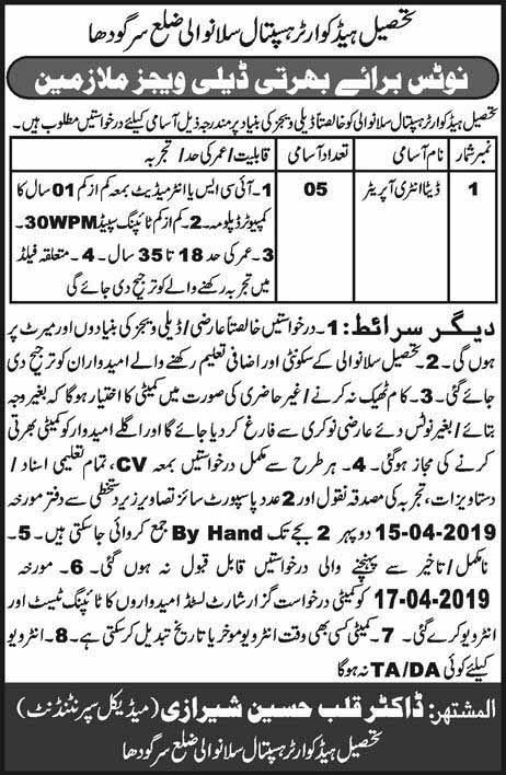 Jobs in Tehsil Headquarter Hospital Sillanwali District Sargodha