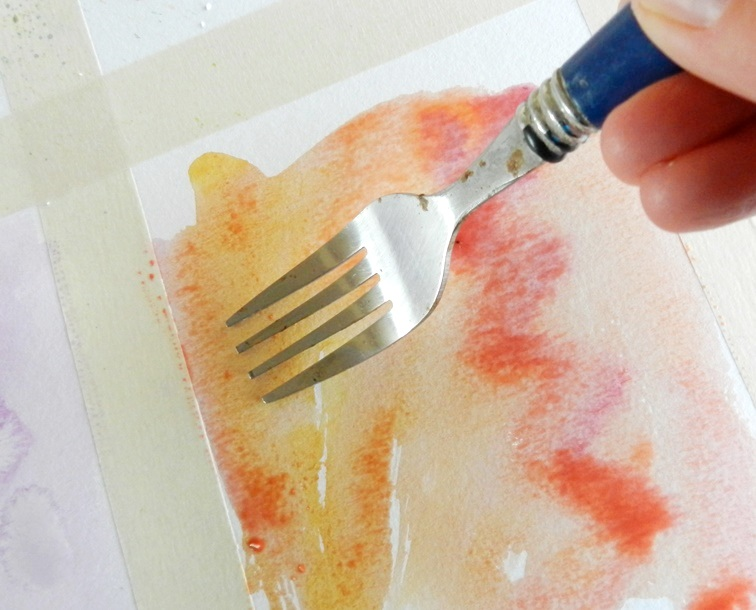 watercolor texture fork scraping