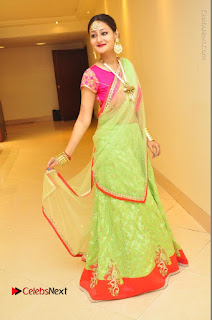 Model Nilofer Haidry Stills in Green Saree at Trendz Exhibition and Sale 2016  0054.JPG