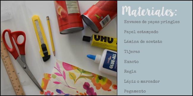Materiales: potes de papas pringles vacíos, tijera, reglas, lápiz, papeles de colores, pegamento