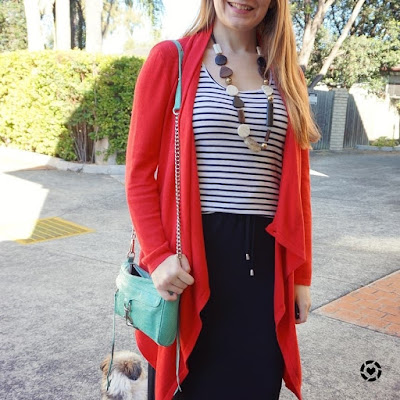 awayfromblue instagram red cardigan striped tank and maxi skirt winter playgroup colourful outfit