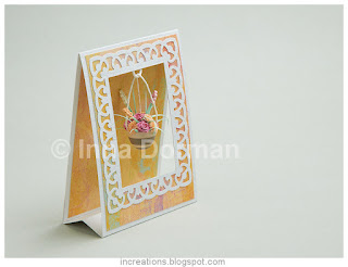 Tent card with quilled flower pot
