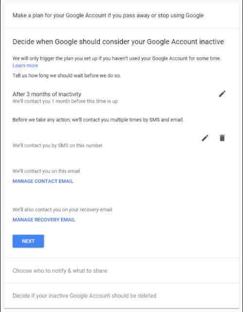 تعيين التاريخ التلقائي لحذف حساب جوجل بعد موتك