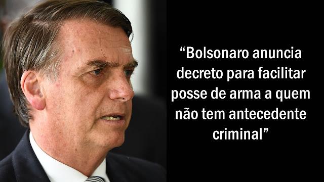 Bolsonaro diz que pretende garantir posse de arma de fogo a cidadãos.