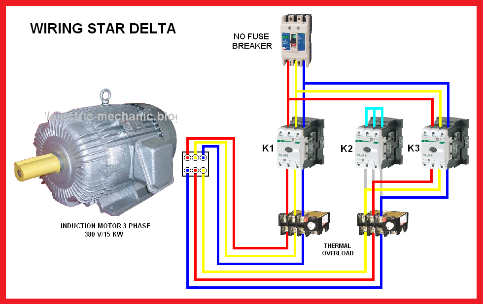 Electrical Page: Star-Delta (Y-Δ) Motor Connection Diagram