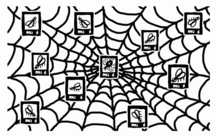Illusztráció gyerekvershez, online internetes kapcsolati háló, keresztespók lájkolja ismerőseit, a pókhálóba ragadt legyek profilképeit a facebookon.
