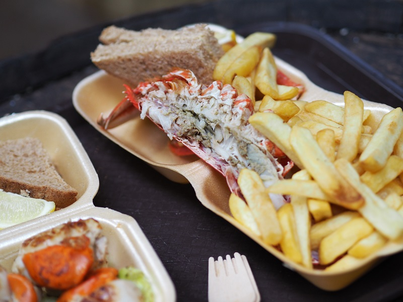 half lobster and chips at the Oyster Shed, Skye